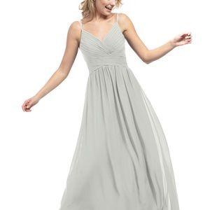 Azazie grey bridesmaid dress.